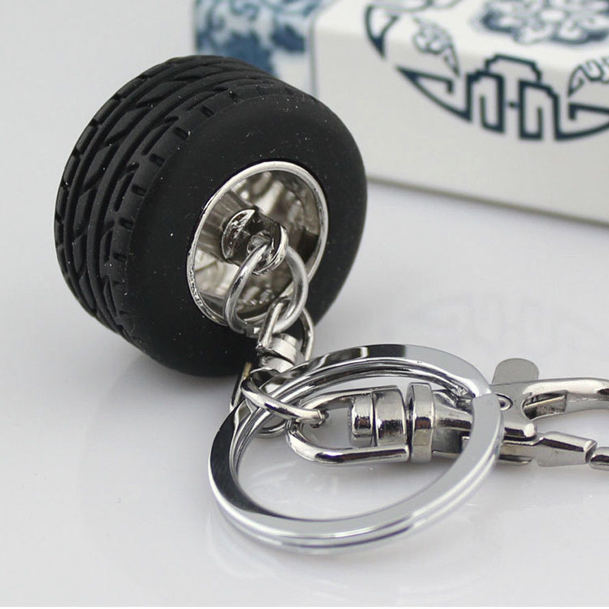 BBQ@FUKA Promotional Gift Auto Car Wheel Tyre Tire Style Keychain Keyring Key Chain Key Ring Fit for Universal Car