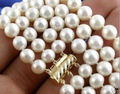 3 Rows 8-9mm Natural White Akoya Pearl Necklace 18''19''20''