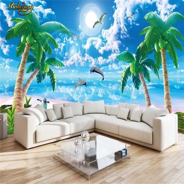 Beibehang Custom Photo Wallpaper Mural Wall Sticker Cool Summer Beauty Seaview Coconut Tree Background Papel
