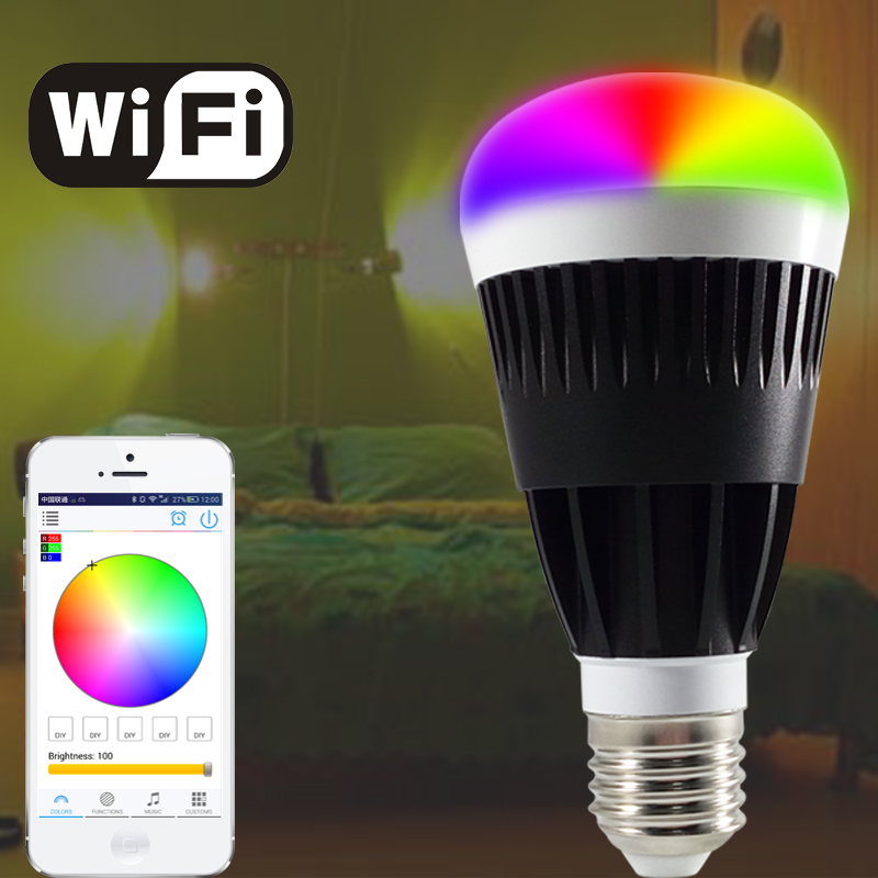free shipping E27 10W Smart RGB White Led bulb Wifi Wireless remote controller led light lamp Dimmmable bulbs for IOS Android intelligent e27 10w rgb led bulb smart
