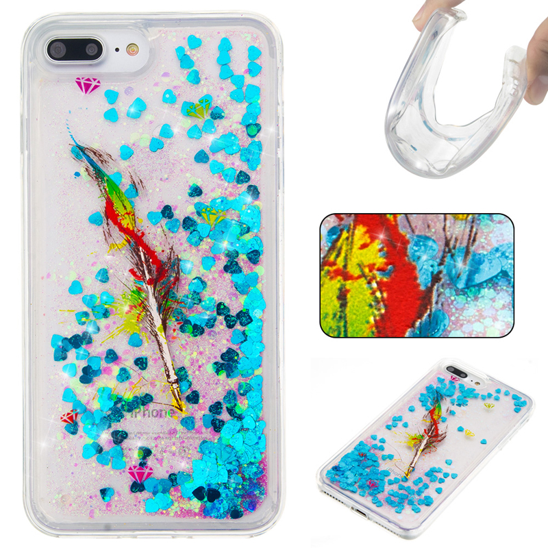 For iPhone Case For4 4S 5 5S SE 6 7 8 x Puls Cover New Glitter Star Blue Feather Flower Quicksand Skin Silicon TPU Shell