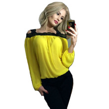Lace Stitching Off-the-shoulder Sexy Ladies Long-sleeved Shirt Summer