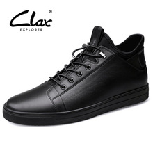 цена на CLAX Mens Leather Shoes Spring Autumn Casual Shoe Male Genuine Leather Walking Footwear Winter Shoe Fur Fashion chaussure homme