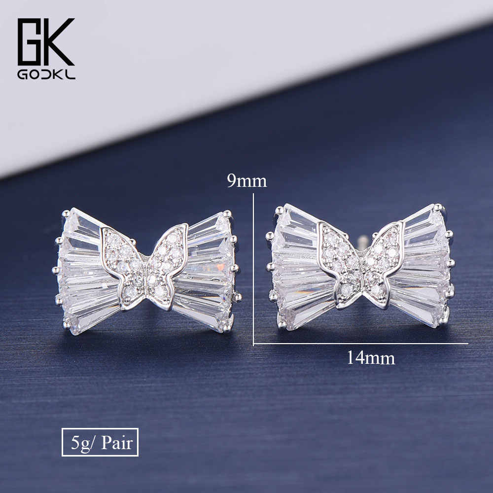 GODKI Dainty Korean Butterfly Bowknots Stud Earrings For Women Wedding Cubic Zirconia Bohemian Bridal Silver Stud Earrings 2018
