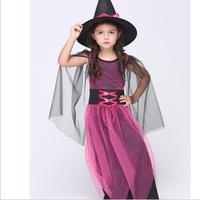 Halloween Christmas Costumes Girl Fly Witch Costume Dress and Hat Party Cosplay Clothing for Kids Girl Childrendren