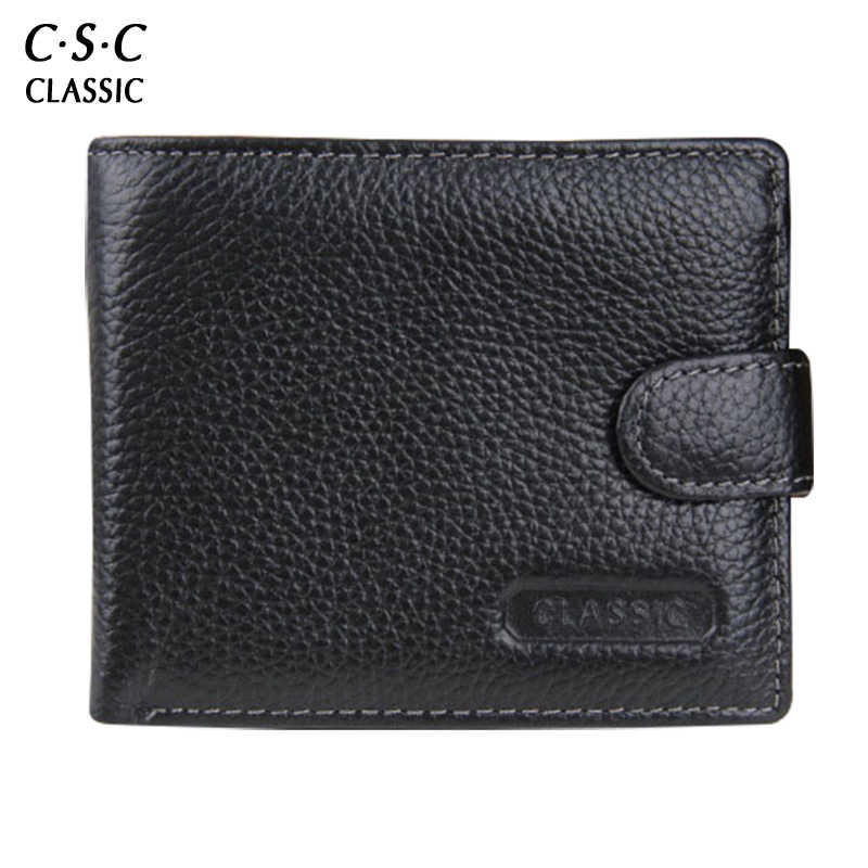 Men Wallet Leather With coin Pocket Mens Hasp Wallets secret zipper pocket Black Business Style HandMade Leather Purse