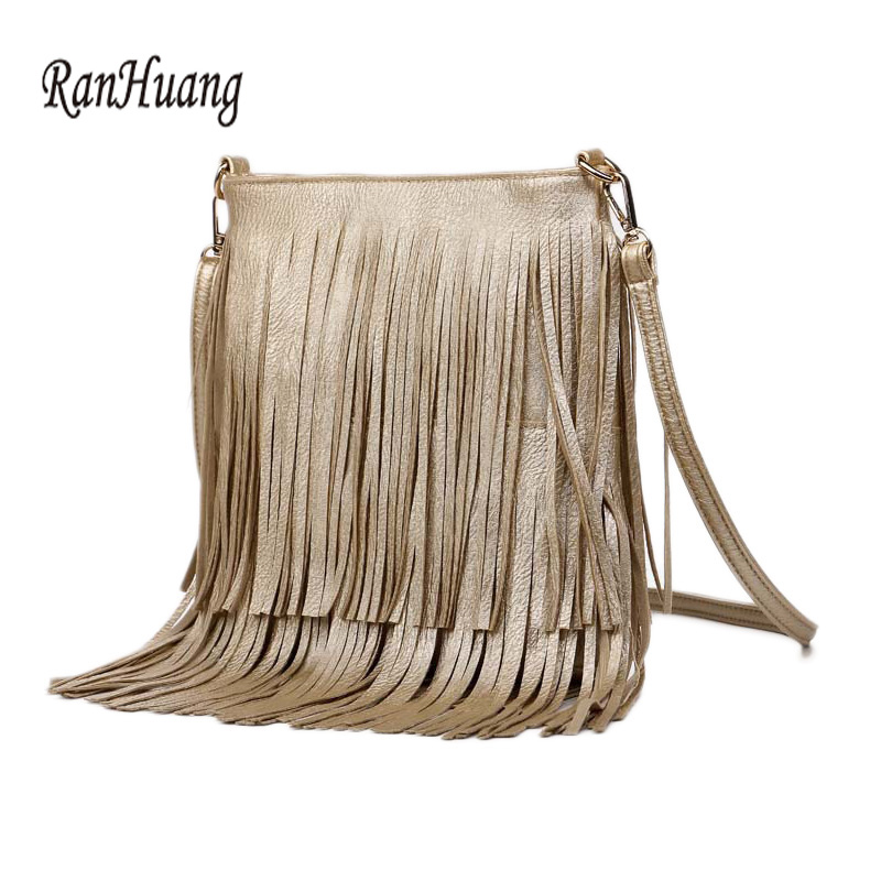 RanHuang Women Tassel Handbags 2017 PU Leather Designer Shoulder Bag Ladies Fashion Crossbody Bags Black Bolsa Feminina A1620 qweek luxury handbags women bags designer 2017 pu leather shoulder bag female printing bolsa feminina mini flap crossbody bags