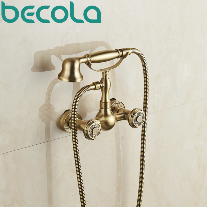 becola new design antique brass shower faucet kit Wall mounted Bathtub Mixer Tap Hand Shower Head Shower Set B-10851 цена 2017