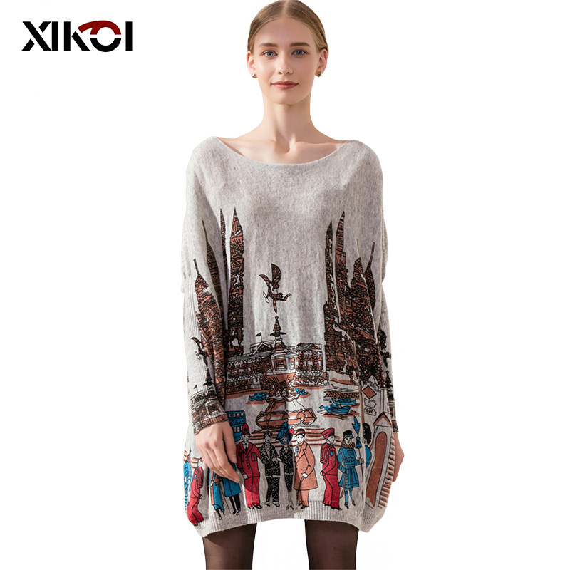 XIKOI Oversize Casual Long Women Sweatercoat Batwing Sleeve City Print Kvinder Sweaters Tøj Pullovers Fashion Pullover