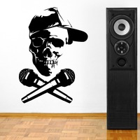 Removable Skull Head With Microphone DJ Vinyl Wall Paper Art Cut Vinyl Wall Sticker Decal Home