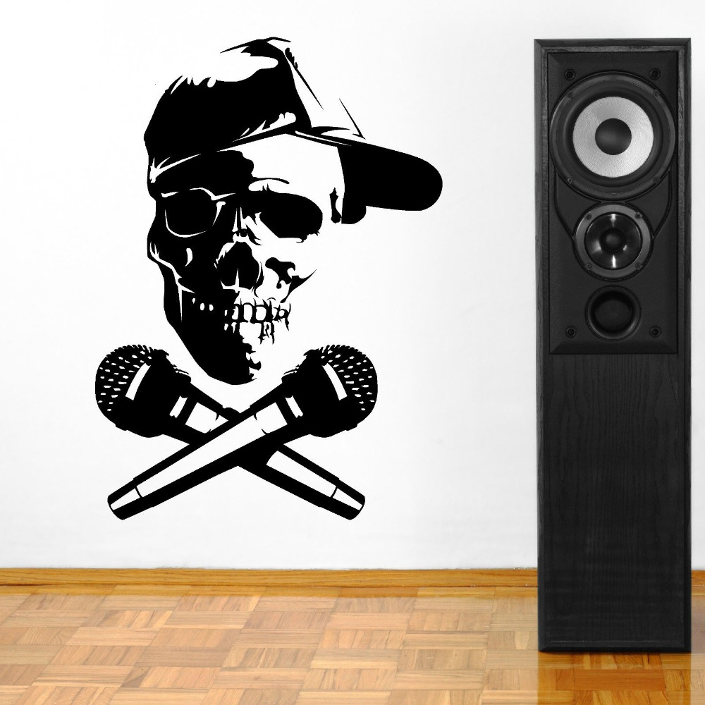 Room decoration with paper cuttings - Removable Skull Head With Microphone Dj Vinyl Wall Paper Art Cut Vinyl Wall Sticker Decal Home