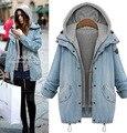 A explosão de gordura MM outono das mulheres blusão jaqueta jeans solto fino gordura colete dois conjuntos