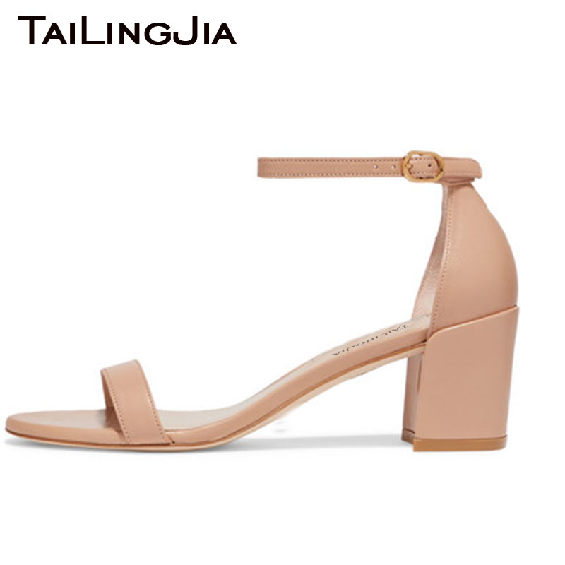 Block Low Heel Woman Shoes Open Toe Sandals Chunky Nude A Word Summer Ladies Shoe Brand Handmade Free Shipping