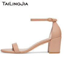 Block Low Heel Woman Shoes Woman Open Toe Sandals Chunky Heel Nude A Word Summer Ladies Summer Shoe Brand Handmade Free Shipping chic woman chunky heel platform sandals sexy ankle stra buckle open toe glittery sequin decorated sandals block heel dress shoe