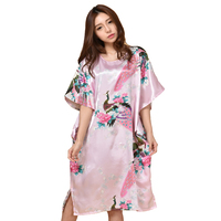 Hot Sale Pink Chinese Women Silk Robe Gown Sexy Nightgown Lose Casual Home Dress Kimono Flower