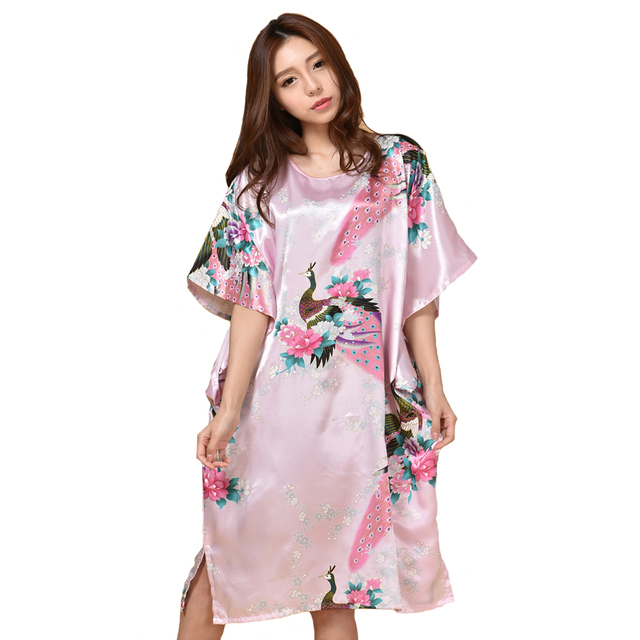 Hot Sale Pink Chinese Women Silk Robe Gown Sexy Nightgown Lose Casual Home Dress  Kimono Flower 03933fcbc