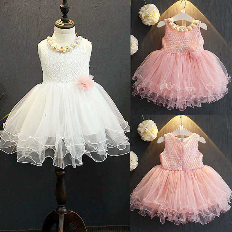 Summer Princess Kids Girls Formal Wedding Dress Infant Girls Pink&White Lace Flower Party Dresses Ball Gown Tulle Tutu Dress