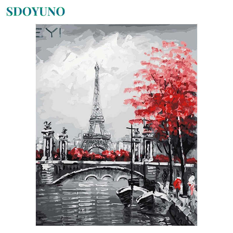 SDOYUNO Oil Coloring By Numbers Paris Tower Landscape Canvas acrylic Painting Wall Decor Painting By Numbers DIY Framed