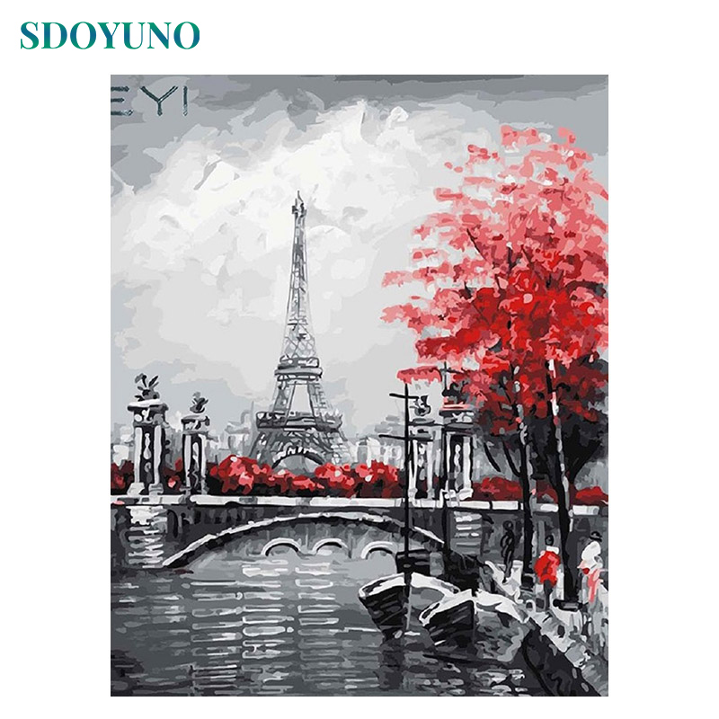 SDOYUNO Oil Coloring By Numbers <font><b>Paris</b></font> Tower Landscape Canvas acrylic Painting Wall Decor Painting By Numbers DIY Framed image