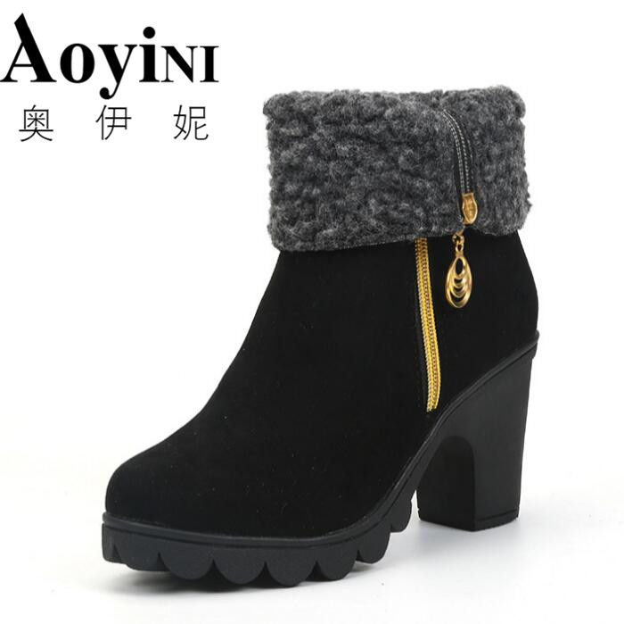 2017 Winter Fleeces Warm Rubber Women Ankle Boots Creepers Platform Casual Shoes Woman Metal Decoration Women Ankle Boots phyanic 2017 gladiator sandals gold silver shoes woman summer platform wedges glitters creepers casual women shoes phy3323