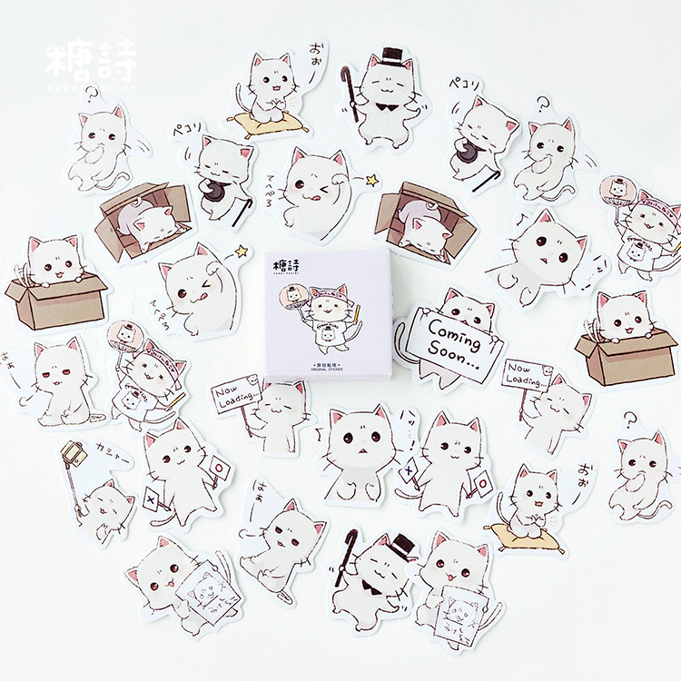 Acting Cute White Meow Cat Stickers Set Decorative Stationery Stickers Scrapbooking DIY Diary Album Stick Lable diy cute kawaii wooden stamp animal cat dog bird tree stamps set for diary photo album scrapbooking stationery free shipping 610 page 1