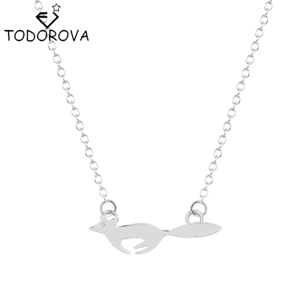 Todorova 10pcs Cute Animal Running Fox Pendant Necklaces for Women Minimalist Jewelry Long Chain Necklace Girls Party Gifts ...