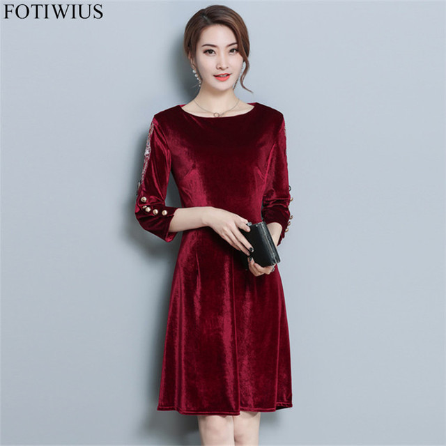 Autumn Winter Red Black Velvet Dress Women Plus Size Dresses Vintage Floral  Embroidery Velvet Dress With Sleeves Robe Femme Ete