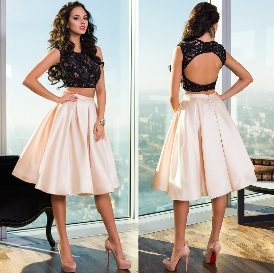Hot Sale Scoop Neckline Two Pieces Formal   Cocktail     Dresses   2015 Satin with Lace Knee Length A-line Hollow Sexy Party Gowns New