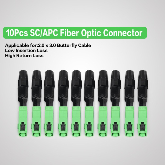 10Pcs SC/APC Fiber Optic Connector FTTH Embedded Single Mode Assembly Fiber Optic Quick Connector Fiber Optic Fast Connector
