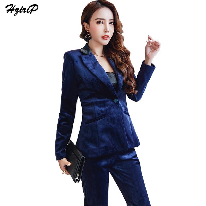 Blazer Arrivée Vintage Nouvelle 2018 Élégantes Femmes Haute Qualité Conçoit Dames Bureau Hzirip Velours Les Pantalon D'affaires Bleu Costumes De Costume Uniforme Aq0nWwEd