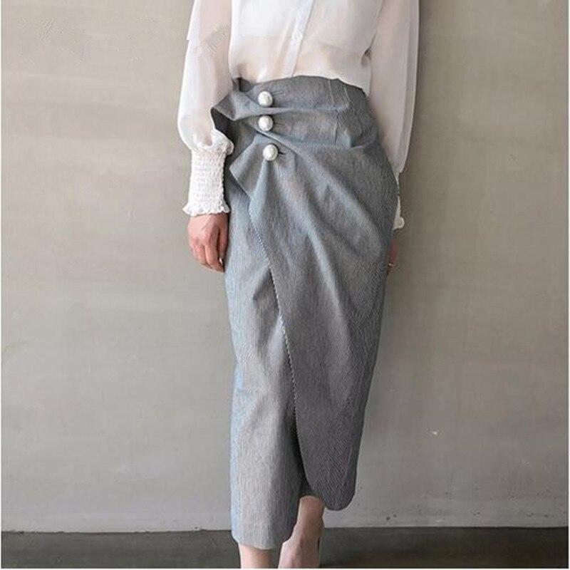 2018 Spring Women Ruched Split Irregular Vintage Skirts Fashion High Waist Striped Pearls Pencil Skirts