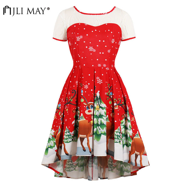 JLI MAY Elk Printed Christmas Party Dress Women Winter Clothes Lace Elegant  Short Sleeve Midi O-Neck Asymmetrical Plus size 189ae3fc5ee6