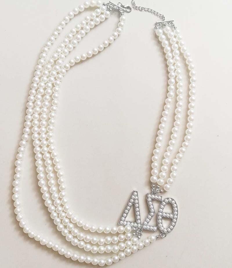 a34d2b1c0e2b Hermandad Multilayer largo perla Delta Sigma Theta letras colgante ...
