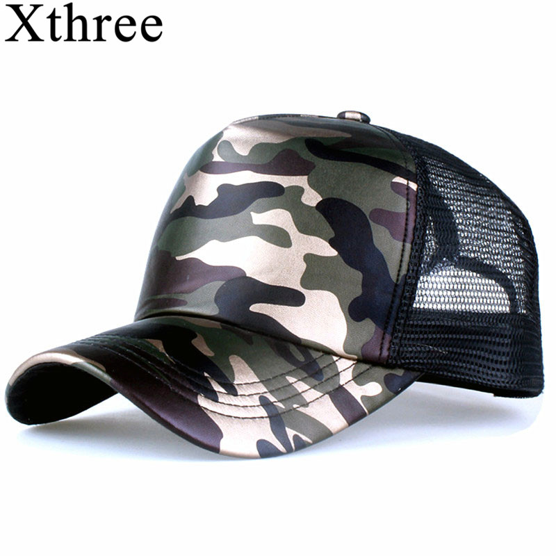 Xthree 5 panels summer baseball cap faux leather Camouflage hat snapback hip hop casquette bone men hats for women Бейсболка