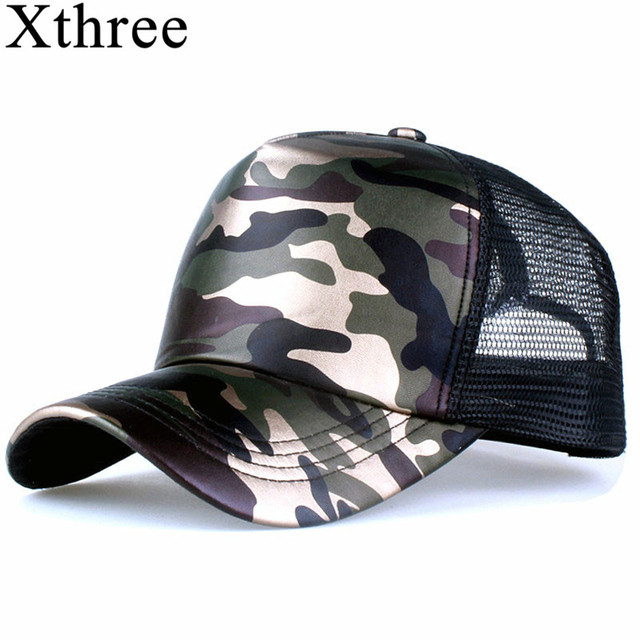 53e93aa5467 Xthree 5 panels summer baseball cap mesh cap faux leather Camouflage snapback  hat men hip hop casquettes hats for women bone