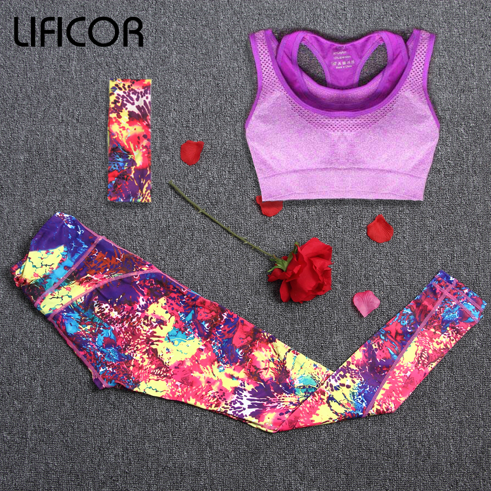 Yoga Sets Sport Wear Women Sport Suit Fitness Suit Capri Running Leggings+Headband+Sport Bra Workout Gym Pants Sportswear Suit lyseacia breathable sport suit women fitness suit yoga bra long sleeeve hoodies running yoga t shirt sports leggings sportswear