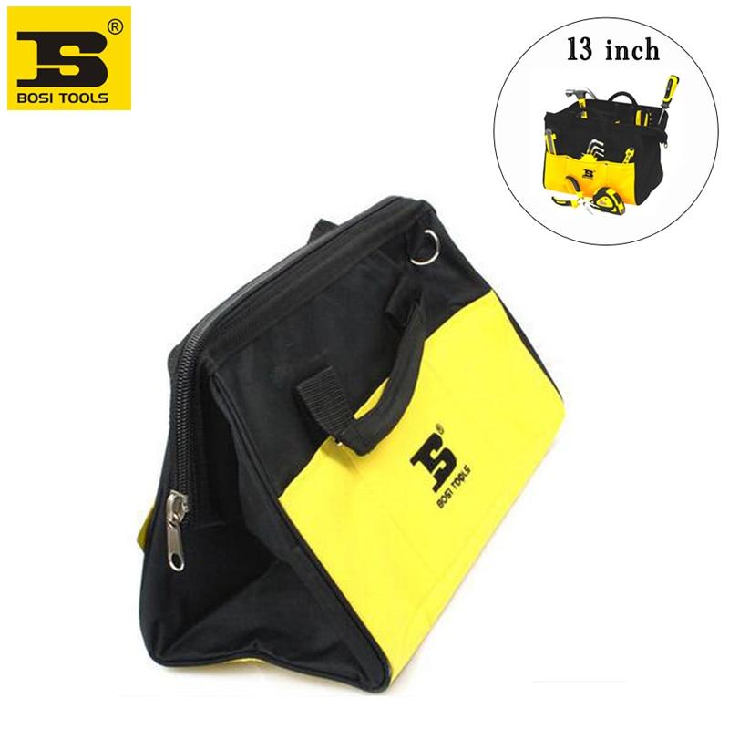 "free shipping BOSI brand new 13"" (300x250x200mm) waterproof durable tool bag multi-purpose steel frame tools organizer"