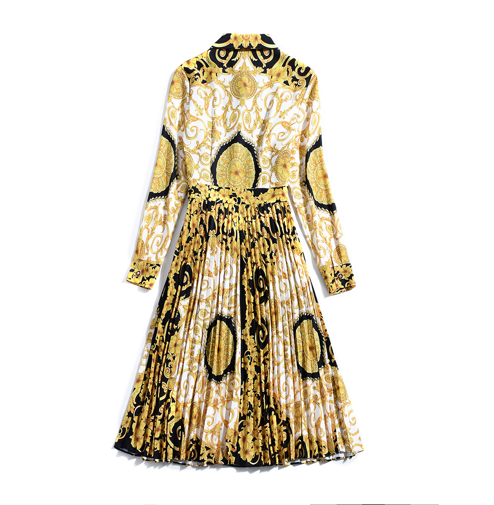 Femmes down Robe Yellow Vintage Longue Festa Plissée Turn Imprimé De Vevefhuang Robes 2018 Automne Col Chemise Nouvelles Slim Rétro 8q1tvB