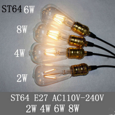 Vintage Edison Led Bulb ST64 E27 B22 2W 4W 6W 8W Dimmable Lamp 220V 110V Transparent Clear Glass Shell Retro LED Filament Light
