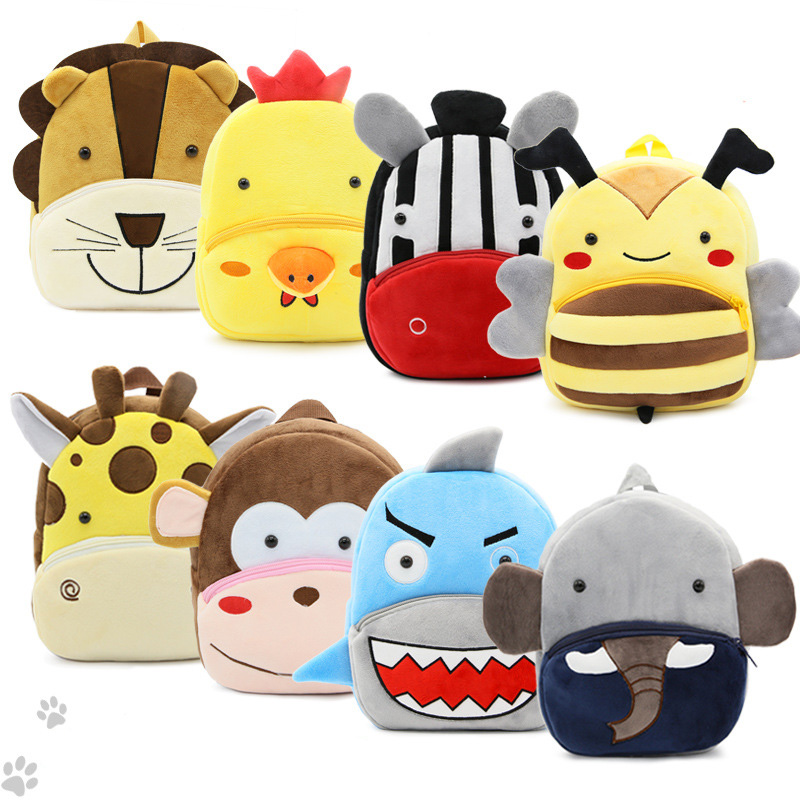 Klsyanyo Mini Cartoon Cute Kid 15 Kinds Animal Plush Toys School Backpacks Childrens Gifts Boys Kindergarten School Bag