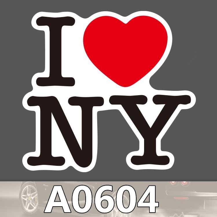 Bevle A0604 I Love New York Waterproof Sticker For Cars Laptop Luggage Skateboard Graffiti Cartoon Notebook Stickers