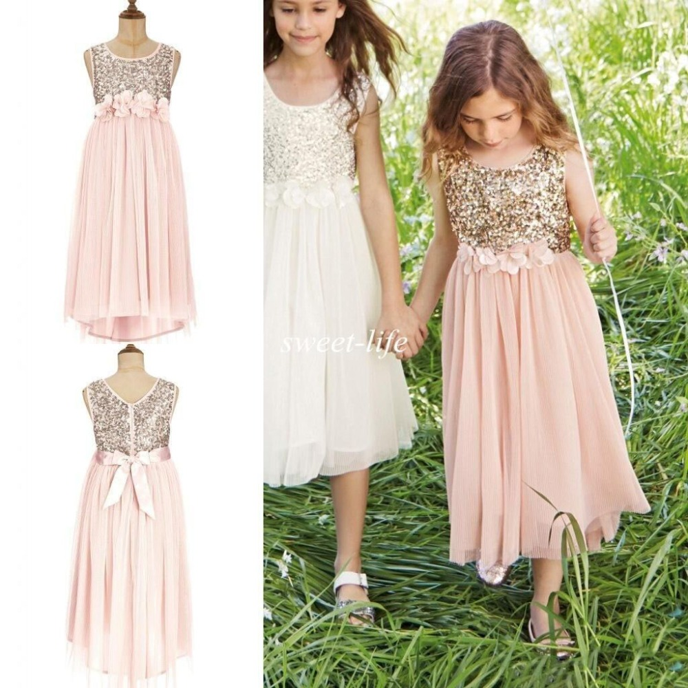 Bling Blush Flower Girls Dresses Gold Sequins Flower Sash Tea Length Tulle A Line Kids Formal party Dress Junior Dress цена 2017