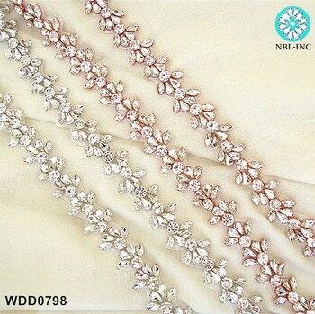 (10 yards )Wholesale bridal hand beaded crystal rhinestone applique trim iron on for wedding dresses belt WDD0798
