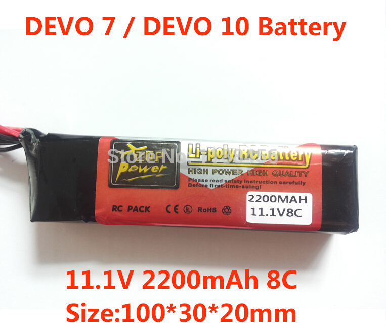 Free Shipping <font><b>2200mAh</b></font> <font><b>11.1V</b></font> 8C Li-Po <font><b>Battery</b></font> for DEVO 10 / DEVO 7 / JR / FUTABA Transmitter Li-poly RC <font><b>Battery</b></font> image