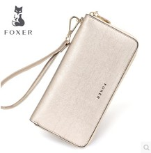 FOXER Famous brand Girls Casual Clutch Bags Women Purse Fashion Gold Lady Leather long Wallets free shipping