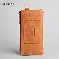 SIMLINE Brand Design Genuine Leather Men Wallet Cowhide Male Vintage Long Slim Zipper Wallets Coin Purse Card Holder Clutch Bag