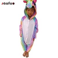Saufuo Kid Animal Unicorn Pajamas Flannel Nightie Halloween Winter Cartoon Adult Character Onesie Pijama De