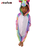 Saufuo Kid Animal Unicorn Pajamas Flannel Nightie Halloween Winter Cartoon Adult Character Onesie Pijama De