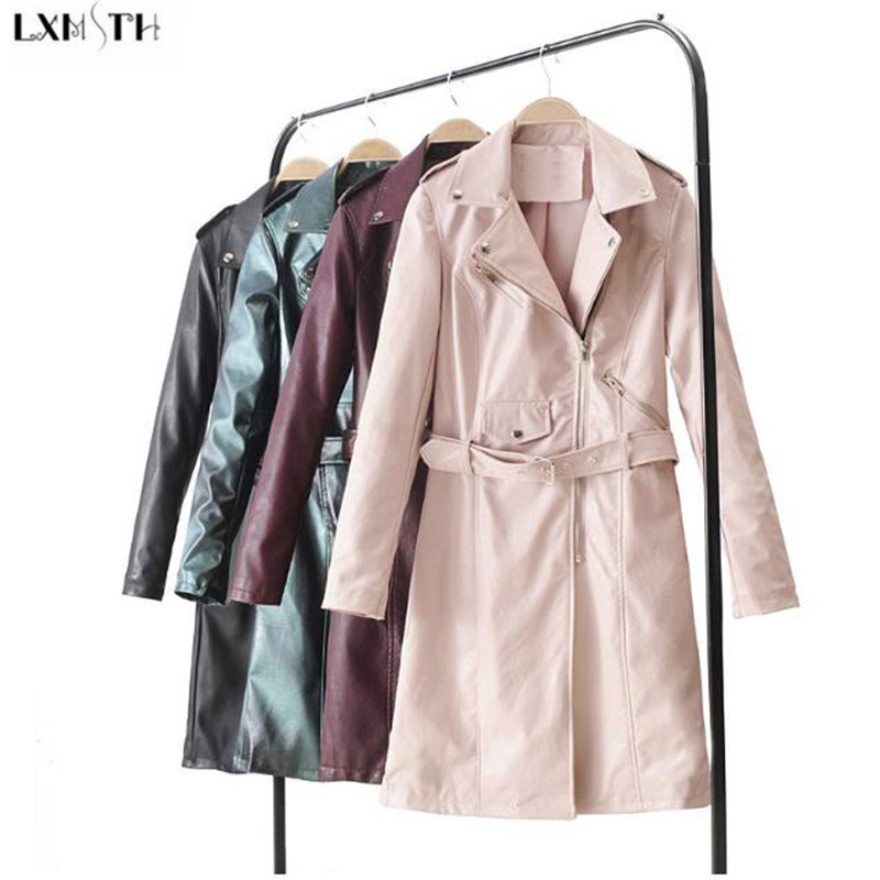 LXMSTH Fashion New Long   Leather   Coat Women Turn Down Collar Slim Female   Leather   jackets Ladies 2019 Spring Trench Coats Pink