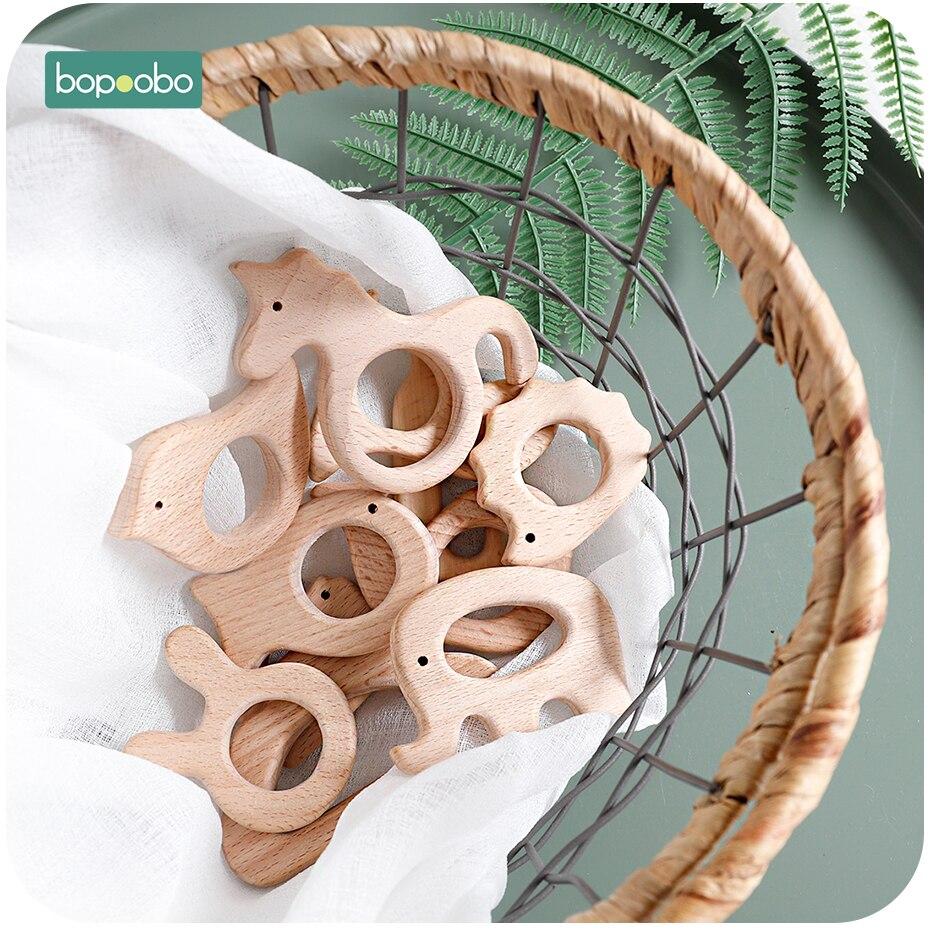 Bopoobo 10pc Baby Toys Beech Wooden Rabbit Baby Nursing Bracelet Educational Toys For Kids Baby Gift Wooden Rattles